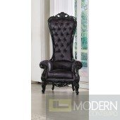 Neo Classic Baroque Extreme High-Back ROYAL Throne Accent ArmChair - BLACK