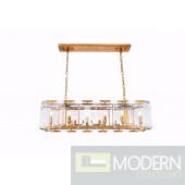 "40"" Iceberg Collection Pendant Lamp Golden Iron Finish Glass Crystal (Clear)"