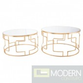 King Set of 2 Mirrored tables in GOLD