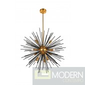 Essen LD5023 10 Light Pendant In Light Antique Brass-Flat Black