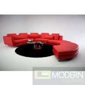 Thelma- Contemporary Leather Sectional Sofa & Ottoman Red
