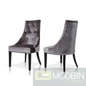 A&X Samantha Grey Velour Dining Chair - Set of 2