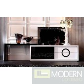 A&X Ovidius Modern White and Black Crocodile TV Stand
