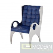 Bozutto Navy Blue Stainless Steel Accent Chair