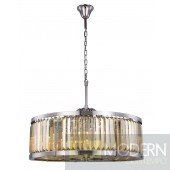 "35.5"" Greenwich 10 Light Crystal Chandelier In Polished Nickel With Royal Cut Golden Teak Smoky Crystal"