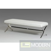 Modrest Adderley Modern White Leatherette Dining Bench