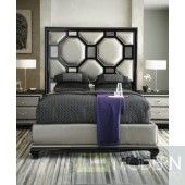 Michael Amini After Eight Modern Upholstered Bedroom Set Black Onyx 3pc