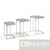 A&X Amelia - Modern Champagne Crocodile Lacquer End Table Set