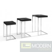 A&X Amelia - Modern Black Crocodile Lacquer End Table Set