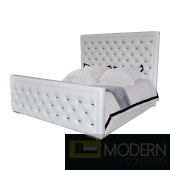 Casino White Air Bonded  leather with stainless steel Plate King Bed
