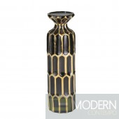 GLAM BLACK/GOLD PILLAR CANDLE HOLDER 13.75""