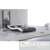 Ariel Contemporary Vinyl Queen Size Bed