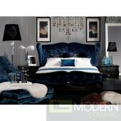 A&X Meridian - Teal Velvet Fabric Bed