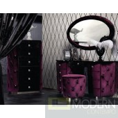 Purple Fabric Tufted Dresser