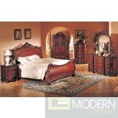 4Pc Modern High End Traditional Cherry Queen Bed Bedroom Set ZBMB09