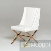 Silvio Modern White & Rosegold Dining Chair