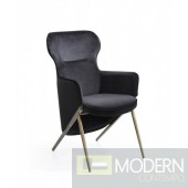 Colleen Modern Black Velvet Accent Chair
