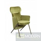 Colleen Modern Green Velvet & Gold Accent Chair