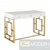 AKWA High Gloss White Lacquer Desk GOLD