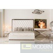 Barron White leatherette platform bed with tall headboard