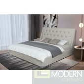 Taiger Grey leatherette platform bed with Tufted Headboard with stainless steel insert and USB PORT