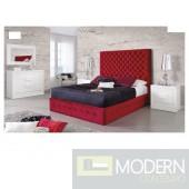 Chelsey Burgundy Velvet Bed with Storage