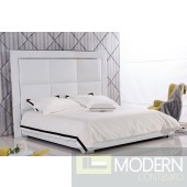 Abby  White leatherette platform bed with tall headboard