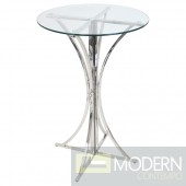 Boro Contemporary Bar/Pub Table in Polished Stainless Steel and Clear Glass