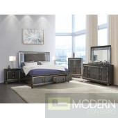 Modern Glam Style Dark Champagne Wood Queen Bed w/LED & Storage MCNJ1008