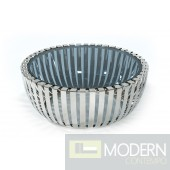 Volos Modern Stainless Steel Round Coffee Table w/ Glass Top