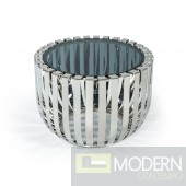 Volos Modern Stainless Steel Round Side Table w/ Glass Top