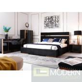 Zanotti Modern Black Velvet & Rosegold Bed