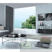 CJ 068 - Contemporary Stainless Steel Coffee Table with Glass Top