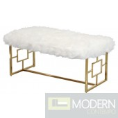Marsala White and Gold Stainless Steel Bench