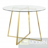 Ezra Dining table Clear Glass top with Gold Base