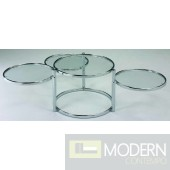 Modern Contemporary Chrome Swivel Glass Coffee cocktail Table