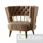 Bentega Beige & Gold Fabric Chair