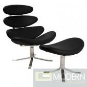 Crono Chair and Ottoman, Black