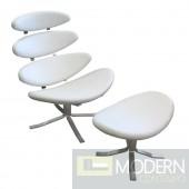 Crono Chair and Ottoman, White