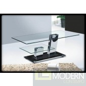 Modern Glass Top Unique Rectangular Shape Coffee Table Black/Chrome TBQFCT181
