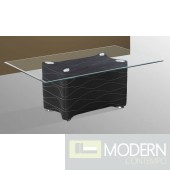Modern Contemporary Clear Tempered Glass Coffee Table with Black Base TBQCT377