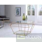 Ember Modern Rosegold & Marble Coffee Table