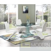 5Pc Zeus Modern Bent Glass Oval Dining Table and White Leatherette  chairs Set 4