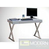 Modern Grey,White Lacquer with Chrome Computer Desk, ZBMBA11