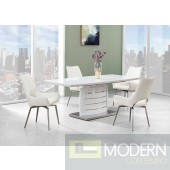 5Pc Ronnie White Glass Top and Stainless Steel Bottom, white Legs and White Leatherette chairs Set 7
