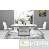 5Pc Ronnie White Glass Top and Stainless Steel Bottom, white Legs and White Leatherette chairs Set 8