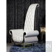 Verona  Neo-Classical Italian Leather Throne Chair with crystals