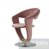 Set of 4 Mauve Velvet Swivel  Dining Chairs