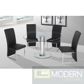 Modern Chrome Base Glass Top Table Black Chairs Dining Set ZBMD904