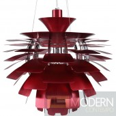 "24"" Petal Chandelier Modern Lamp in Red"